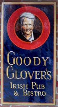 Goody Glovers Irish Pub traditional signage
